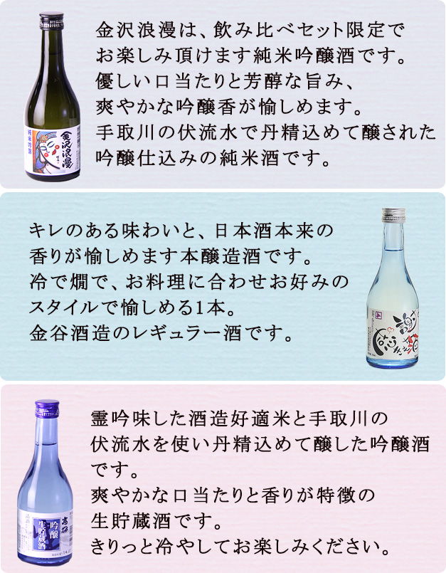 飲み比べ300ml×3本商品説明感謝の気持ち